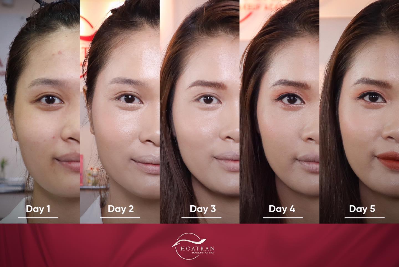 Nhìn ảnh học viên khoá Makeup cá nhân tiến bộ qua từng buổi học