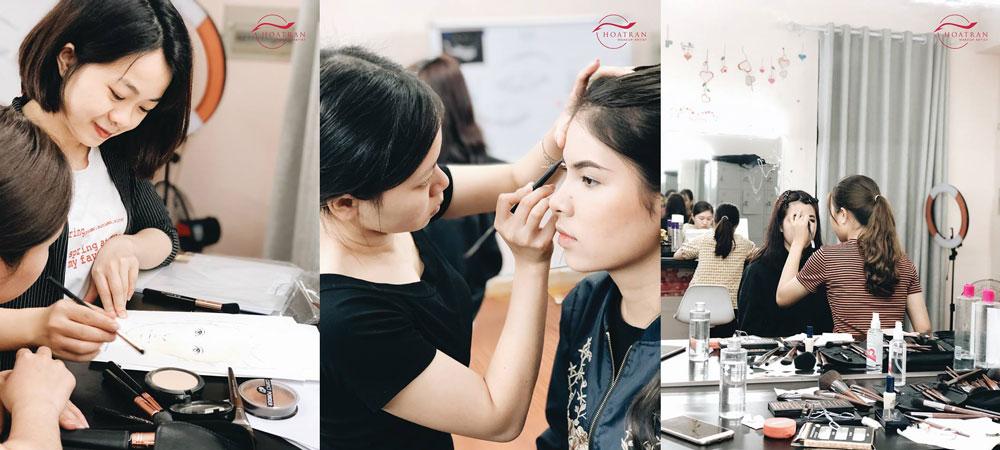 Hình ảnh lớp học makeup tại Hoatranmakeup